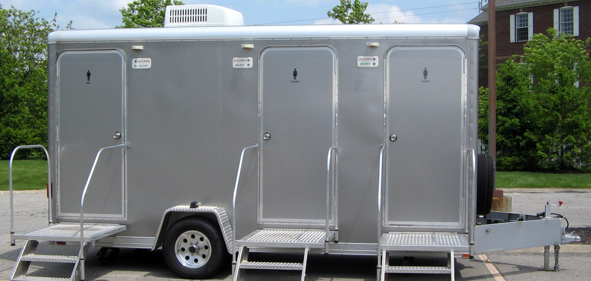 3 stall trailer each restroom has its own private restroom facilities - Mobile Bathroom