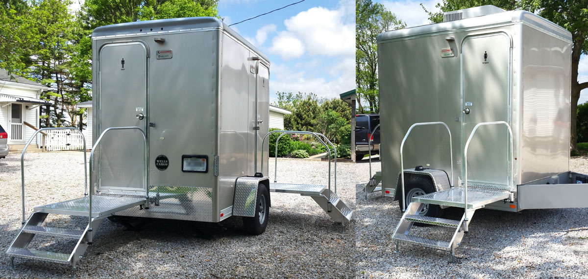 Luxury 2 Stall Portable Restroom Trailers for small spaces. Clean Indianapolis Portable Restrooms Trailers Showers   Indy