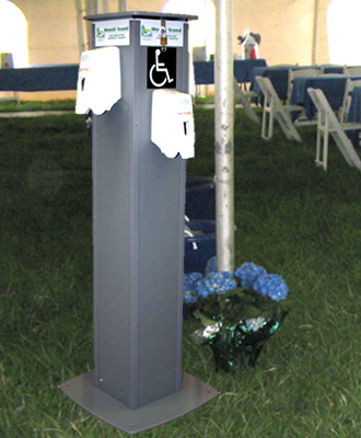 Indy Portables hand sanitizing stations for rent